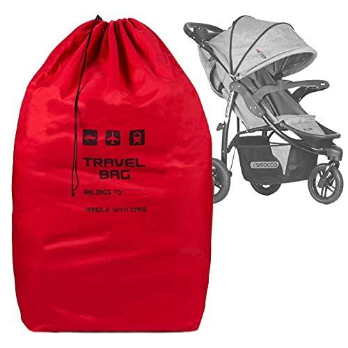 Rote Reisetasche für Kinderwagen Größe zu 100x60x40 cm Transporttasche Buggy Tragetasche Faltbar als Rucksack perfekt am Flughafen beim Einchecken Bahnhof Autofahrten [085]