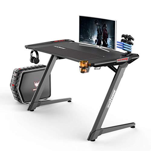 Outshine Gaming Destiny Gaming Tisch Computertisch Gaming Schreibtisch mit Mauspad RGB LED Lichter Getränkehalter und Kopfhörerhalter Schwarz