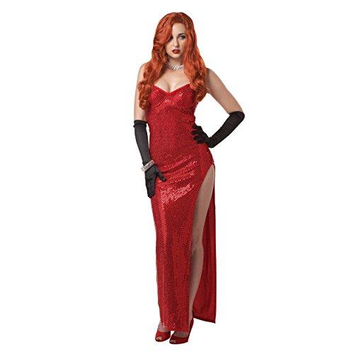 Jessica Rabbit da donna Costume rosso sexy paillettes vestito Who Framed Roger adulto Red Donna M