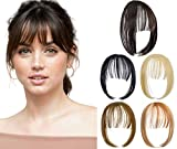 Felendy Clip in Bangs Hair Piece One Piece Thin Fringe Front Neat Air Bangs Extensions with Temple Hand Made Dark Brown