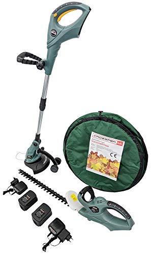 CrosSFER Garten Professional Complete set, accu-grastrimmer 18V, accu heggenschaar 18V, 2x18V accu, 2x18V lader, incl. 110L tuinafvalzak Pop-Up