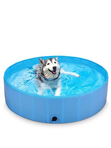 BlueFire Hundepool 120x30cm, Hund Schwimmbecken Planschbecken Faltbar Hundeplanschbecken Swimmingpool, Leicht Aufbaubar, PVC rutschfest Hundebadewanne fur Kleine Große Hunde, Haustier und Kinder