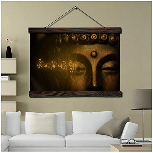 UNFIX Golden Buddha Modern Wall Art Print Pop Art Picture and Poster Frame Hanging Scroll Canvas Painting Decoration for Living Room -16X24 inch