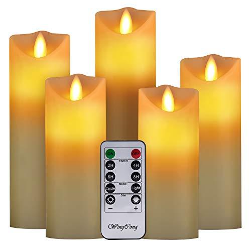 LED Kerzen,flammenlose Kerze Batterie Dekorative Kerze 5er Set (13/14/16/18/20cm).Die echt blinkende LED-Flamme ist aus Beige Echtwachs gefertigt,10-Tasten Fernbedienung mit 24 Stunden Timer-Funktion