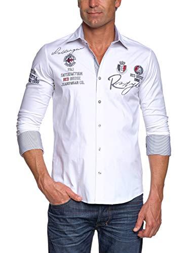Redbridge Herren Hemd Langarm Freizeithemd Regular Fit Tailliert Bestickt R-Style R-2130 (Weiß, S)