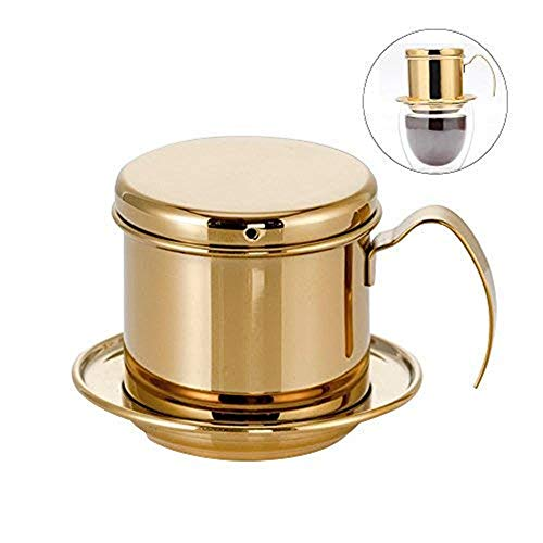 LARRY SHELL Coffee Maker Pot Stainless Steel Vietnamese Coffee Maker with Coffee Drip Filter for Home Kitchen Office Outdoor Use - Best Gift Choice for Baristas and Coffee Lovers,Gold