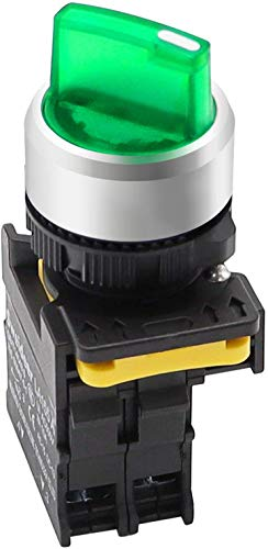 Tnisesm/Green LED Light Voltage 220V 22mm 1 NO 2 Posizioni Impermeabile IP65 Aggancio Interruttore selettore rotativo 10A 600V LA155-A1-10XD-G