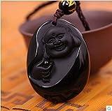 Bouddha En Roche D'Obsidienne Naturelle Sculpté Pendentif A