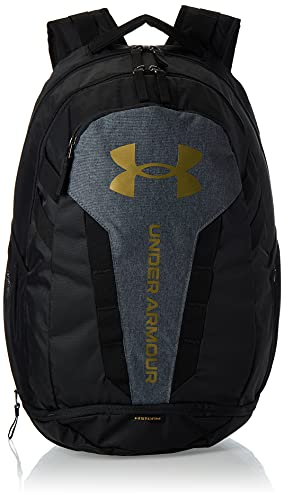 Under Armour Hustle Backpack, Black (004)/Metallic Gold Luster, One Size Fits All
