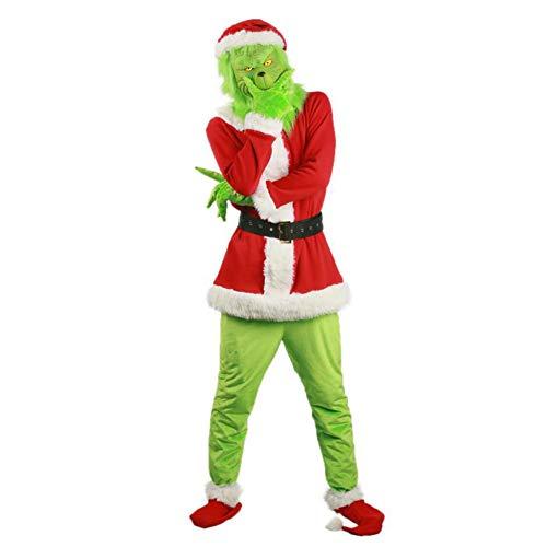 iSpchen Disfraz de Grinch, Disfraz de Navidad, Disfraz de Fiesta de Grinch Disfraz de Navidad de Lujo Peludo para Adultos, Traje Verde para Disfraces de Festivales