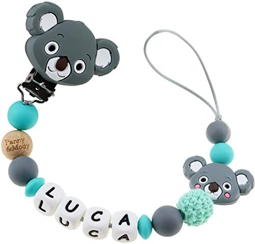 Pacifier Clip Personalized Name Customizable Pacifier Leashes for Baby Boys Cute Koala Grey product image