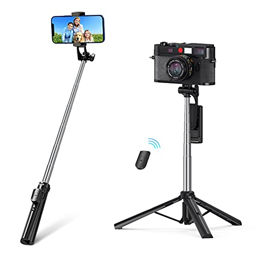 Bastone Selfie Bluetooth, Treppiede Smartphone, 3 in 1 Bastone Selfie con Telecomando, Treppiede Cellulare Universale per iPhone/Samsung/Xiaomi/Huawei
