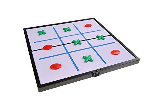 Gioco da tavolo magnetico (Versione compatta da viaggio): Tris / filetto / fila tre / crocetta e pallino / cerchi e croci - pezzi magnetici, tavoliere pieghevole, 19cm x 19cm x 1cm, SC6633 (DE)