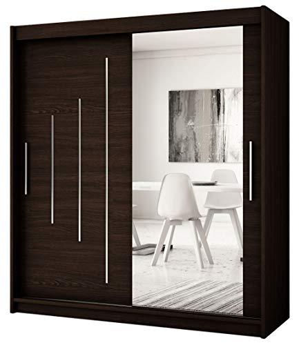Kryspol Schwebetürenschrank York 2-150 cm mit Spiegel Kleiderschrank mit Kleiderstange und Einlegeboden Schlafzimmer- Wohnzimmerschrank Schiebetüren Modern Design (Wenge)
