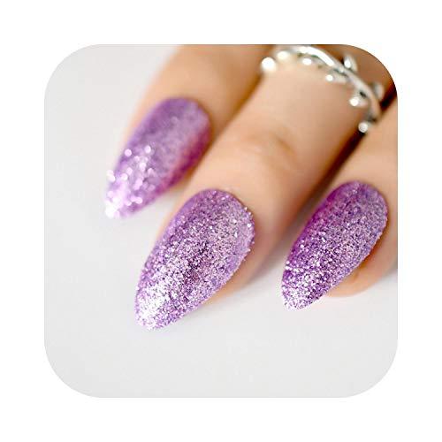 Pegatinas de uñas de verano Oro rosa 24 Cubierta completa Uñas postizas Superbe Glitter Ballerina Puntas de uñas de acrílico 12 tamaños Cobertura completa Consejos de bricolaje con adhesiveivo-Z873-