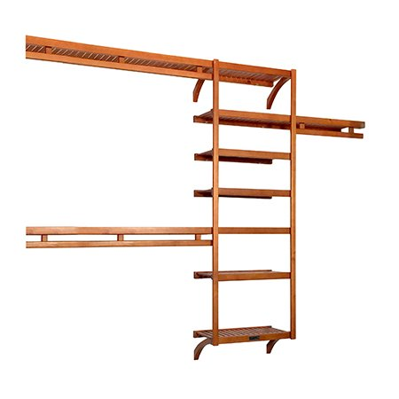 John Louis Home Woodcrest 12in. Deep Standard Closet Shelving System, Caramel Finish