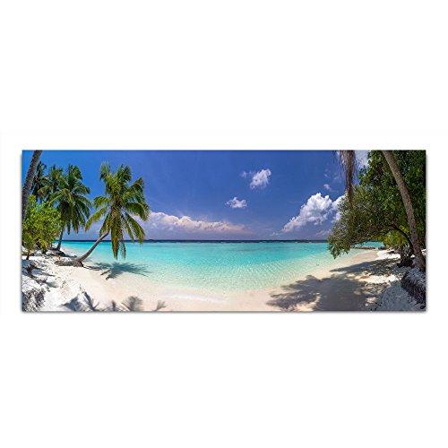 DEKOGLAS Glasbild 'Meer Strand Palmen' Acrylglas Bild Küche, Wandbild Flur Bilder Wohnzimmer Wanddeko, einteilig 125x50 cm