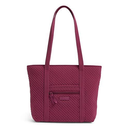 Vera Bradley Women's Microfiber Small Vera Tote Bag Handbag, Raspberry Radiance, One Size