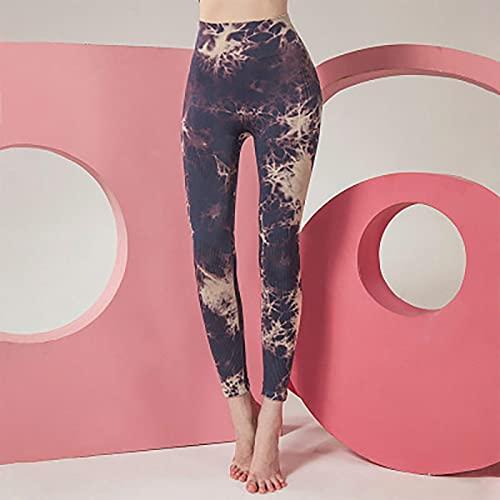 Astemdhj Leggings Pantalones Fitness Yoga Tie Dye Leggings De Movimiento De Alta Elasticidad De Cintura Alta Leggings Sexis De Levantamiento De Cadera Running Fitness Push Up Ropa L Púrpura