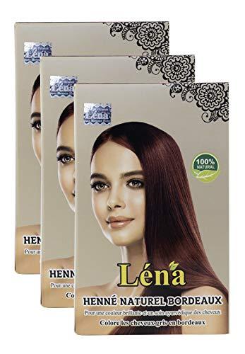 Burgunder henna, haarfarbe, haarpflege, pflanzenhaarfarbe, weiße Haare bedecken und 100% natürlich - Pack 3 X 100 g
