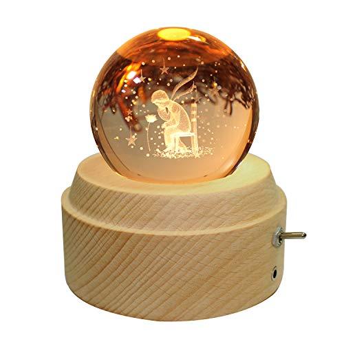 Senjianer - Bola de cristal con base de madera de haya, brillo giratorio, regalo de cumpleaños sincero (memoria)