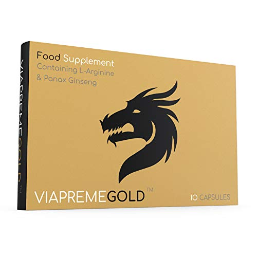 ViaPreme Gold - (10 Capsules) Strong and Fast Acting Male L Arginine, Ginseng, Tribulus Terrestris Complex - Food Supplement - 100% Natural