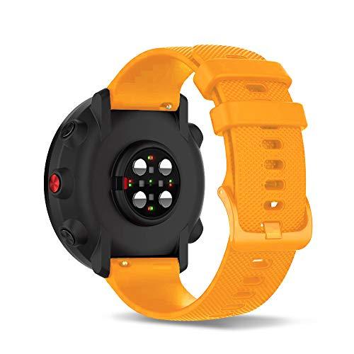 Ficocean Correa de Reloj Compatible con Polar Ignite /Polar Unite, Universal 20mm Correa de Silicona Pulsera de Repuesto Banda de Deportes Fitness (ámbar)