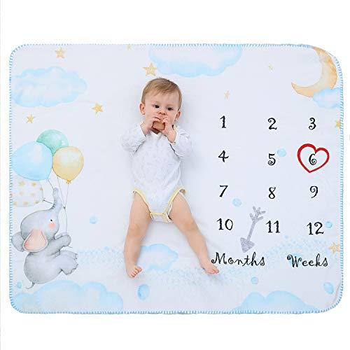 Manta Polar Bebe Con Hito Mensual Fotografia Suave, Mantitas Bebe Recien Nacido, Manta Arrullo Bebe para Niña & Niño Blanco 120 * 100cm (Elefante)