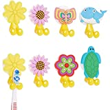 Okuna Outpost Silicone Toothbrush Holder with Suction Cup for Kids (6 Designs, 8 Pack)