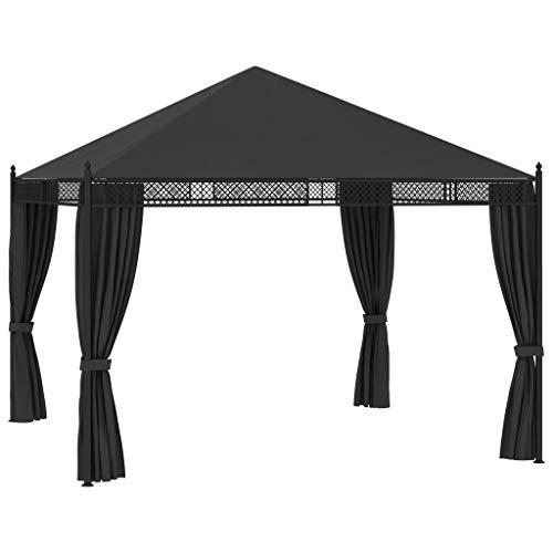 vidaXL Cenador con Cortinas Toldo Parasol Carpa Jardín Marquesina Reunión Familiar Pabellón Exterior Impermeable Gris Antracita 3,5x3,5x3,1 m