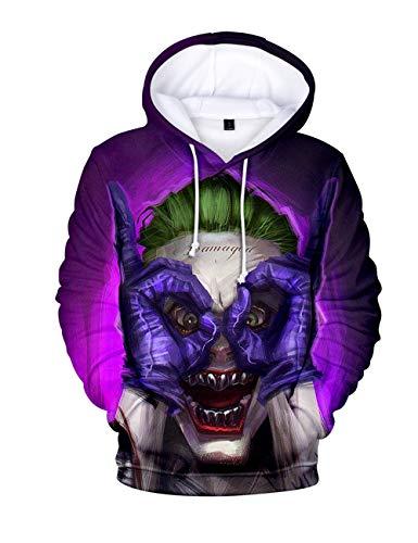 Wadaland Felpa Halloween Felpe con Cappuccio Horror Clown Unisex,Costumi Horror di Halloween Stampa 3D Pagliaccio Uniforme di Stampa Sweatshirt Uomo (C,S)