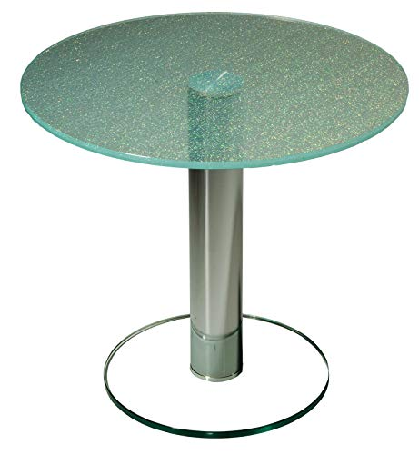 Darwin8276-A tischdesign24 Ecktisch mit 12mm Verbundglasplatte in exklusiver Crashglas-Optik. Mittelsäule in 80mm rund Chrom gebürstet Bodenplatte in Klarglas. Größe: 55 x 55 cm Rund Höhe: 50cm