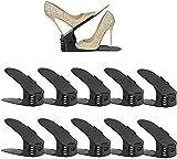 Set de 10pcs Organizadores de Zapatos, Soporte de Calzado de Altura Ajustable, Zapatero Simple, Adecuada para Mujeres y Hombres, Ahorra Espacio (negro)