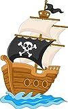 EmmiJules Wandtattoo Piraten für das Kinderzimmer - Größe (BxH): 19 x 30 cm - Made in Germany - Piratenschiff Schiff Pirat Junge Kinder Baby Deko Wandaufkleber Wandsticker (Piratenschiff klein)