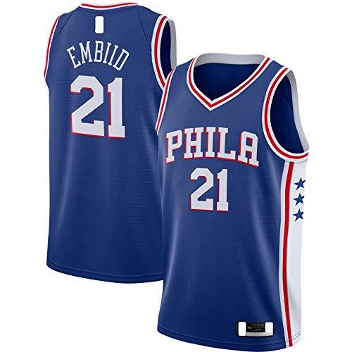 HFHDF Joel Traning Jersey Embiid Sudadera Filadelfia Baloncesto Jersey 76ers Sportswear #21 Swingman Jersey Royal - Icono Edition-XXL