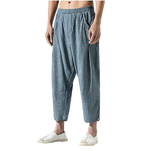 FIRMON-Jeans Herren 80er Slim Fit Hose Sport Lange Sweatpants Casual Vintage Loose Baumwolle Leinen reine Farbe Komfort Wadenlange Hose Gr. 3X, Hellblau Lounge Pants Herren