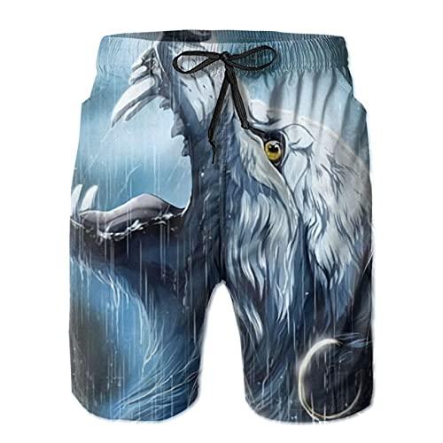 Harley Burton - Costume da bagno da uomo, con lupo e luna, ad asciugatura rapida, da surf, con coulisse regolabile bianco L