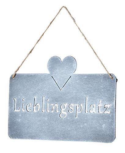 levandeo Schild Lieblingsplatz 25x16cm Herz Garten-Deko Türschild Wandbild Beton Betonoptik Grau Wanddeko