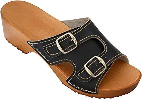 Sandalias de Mujer de Madera y Cuero Mules Zuecos Sandalias con tacón sin Cordones (Negro, Numeric_40)
