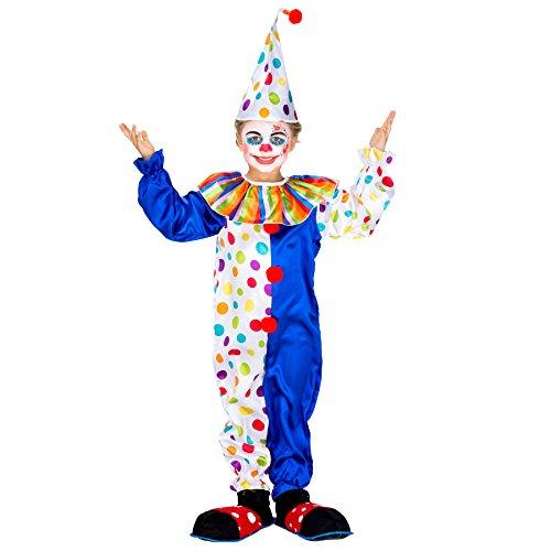 dressforfun Déguisement pour Enfant / ado Clown | Magnifique Combinaison colorée + Superbe Bonnet Pointu à Pompon | arlequin Costume Carnaval (5-6 Ans | no. 300805)