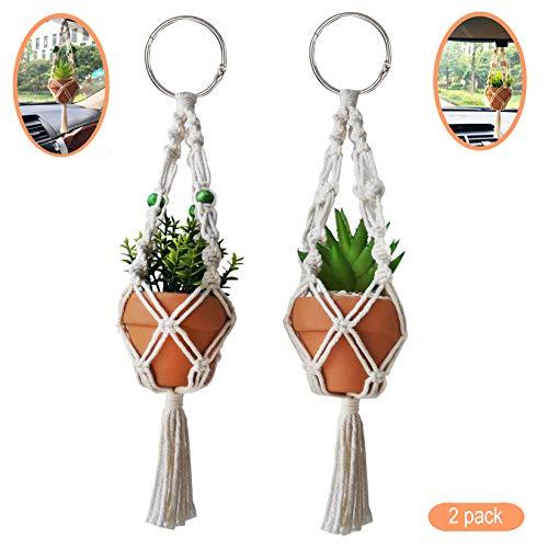 TIMECOSY Mini Macrame Plant Hanger Rear View Mirror Car Cactus Charm Decorations Boho Hanging Plant...