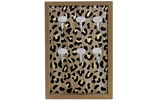 Item International Colgados Llaves Madera Leopardo 30x20Cm, Multicolor