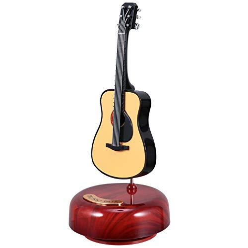 FAVOMOTO Caja musical para guitarra clásica, mini réplica, instrumento melodía, caja artesanal con base musical giratoria, para San Día de la Madre, regalo