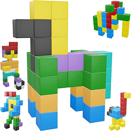 Intock Magnetic Blocks, Magnetic Cubes Educational Toys, Original Award Winning Magnetic Building Blocks For Kids, 100 Pieces Rainbow Color Autism Toys Magic Cube Sensory Toys For Kids