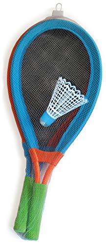 alldoro 60055 Spiel Set Skyball Federball und 2 Schläger ca. 75 cm, Outdoor Federballspiel, Riesen Tennisschläger, Jumbo Tennis Softballspiel, für Kinder ab 5 Jahre & Erwachsene, XXL Softball LED