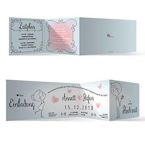 20 x Hochzeit Einladungskarten Hochzeitseinladungen Hochzeitskarten - Küssendes Paar