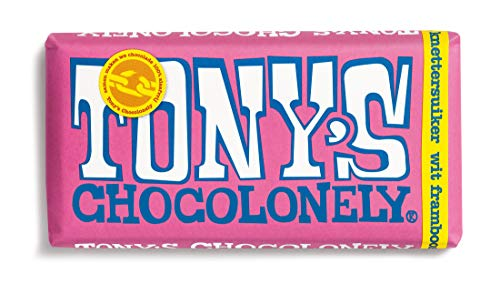 Tonys Chocolonely Biała czekolada malinowy cukier chrupiący 180 g