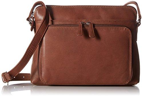 ili New York 6333 Leather Shoulder Handbag with Side Organizer (Toffee)
