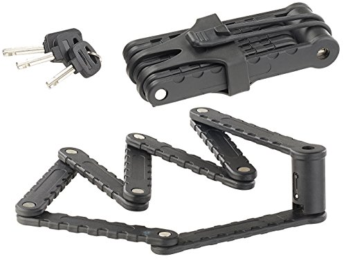 AGT Fahrradsicherung: Fahrrad- & Motorrad-Faltschloss, 3,5-mm-Stahl, 97 cm, Rahmenhalterung (Fahrrad-Schloss)