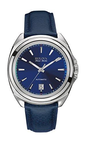 Bulova Accu Swiss Telc-Orologio da uomo con Display analogico e cinturino in pelle, colore: blu 63B185